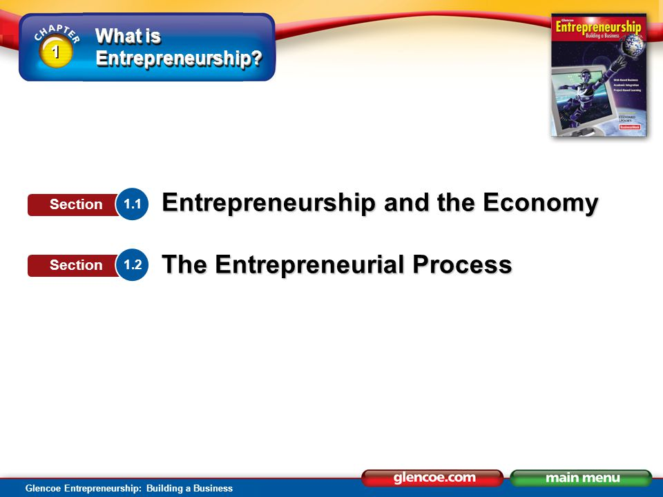 What is Entrepreneurship? Glencoe Entrepreneurship: Building a Business 1 1 Entrepreneurship and the Economy The Entrepreneurial Process 1.1 Section 1