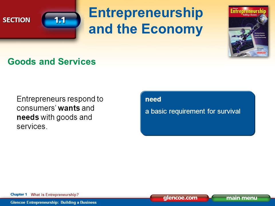 Glencoe Entrepreneurship: Building a Business SECTION Entrepreneurship and the Economy What is Entrepreneurship? Entrepreneurs respond to consumers' w