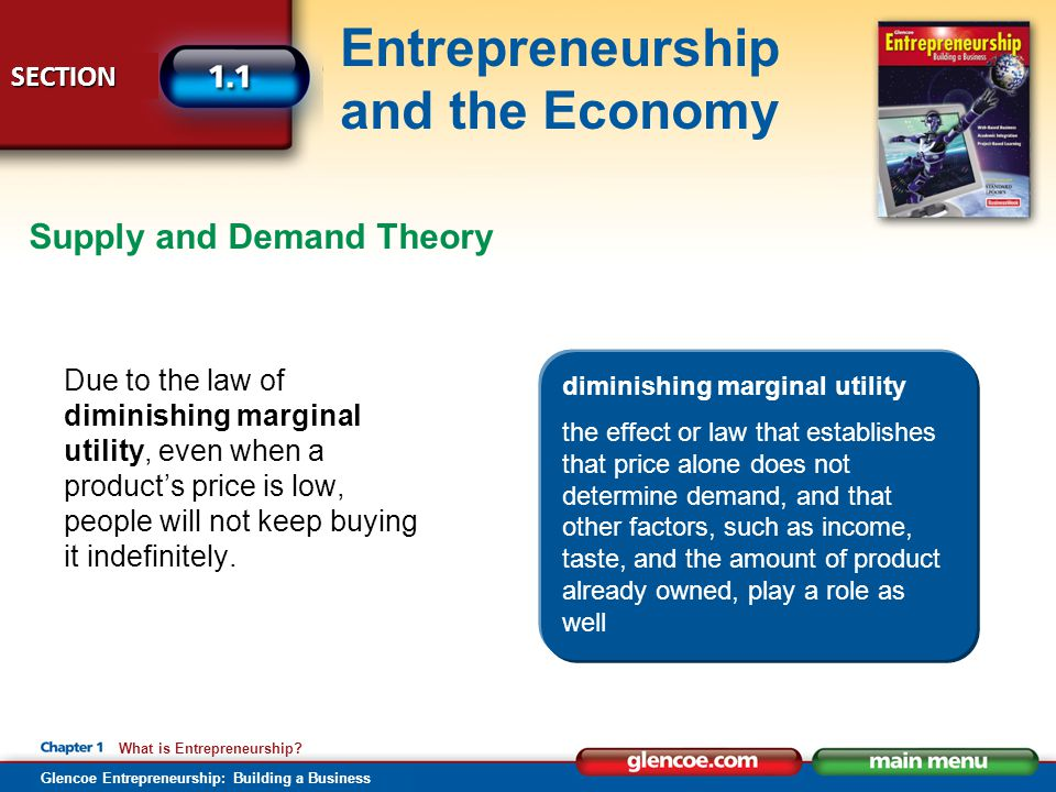 Glencoe Entrepreneurship: Building a Business SECTION Entrepreneurship and the Economy What is Entrepreneurship? Due to the law of diminishing margina