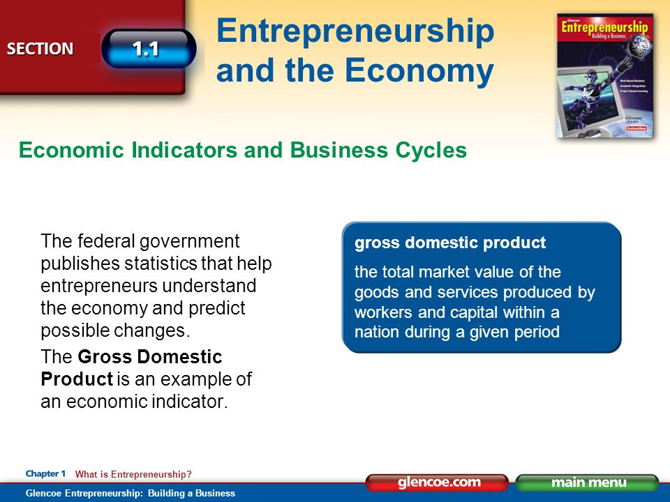 Glencoe Entrepreneurship: Building a Business SECTION Entrepreneurship and the Economy What is Entrepreneurship? The federal government publishes stat