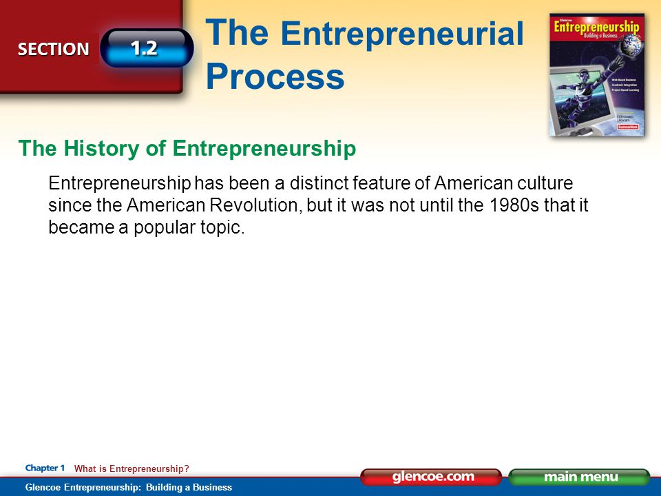 SECTION The Entrepreneurial Process Glencoe Entrepreneurship: Building a Business What is Entrepreneurship? Entrepreneurship has been a distinct featu
