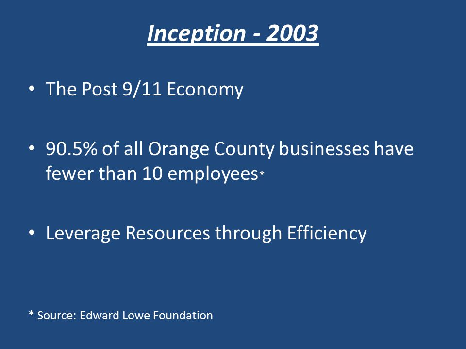 Inception - 2003 The Post 9/11 Economy 90.5% of all Orange County businesses have fewer than 10 employees * Leverage Resources through Efficiency * Source: Edward Lowe Foundation