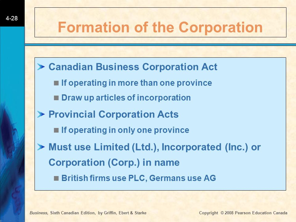 Business, Sixth Canadian Edition, by Griffin, Ebert & Starke Copyright © 2008 Pearson Education Canada 4-28 Formation of the Corporation Canadian Busi