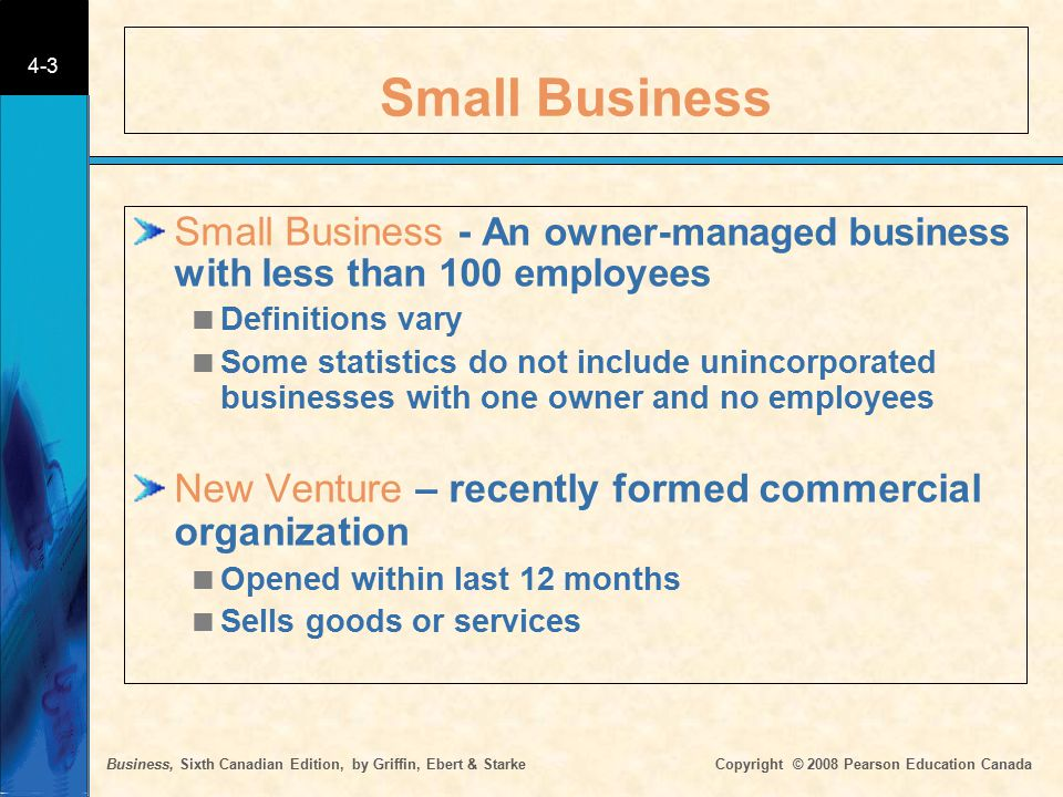 Business, Sixth Canadian Edition, by Griffin, Ebert & Starke Copyright © 2008 Pearson Education Canada 4-3 Small Business Small Business - An owner-ma
