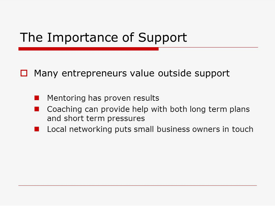The Importance of Support  Many entrepreneurs value outside support Mentoring has proven results Coaching can provide help with both long term plans and short term pressures Local networking puts small business owners in touch