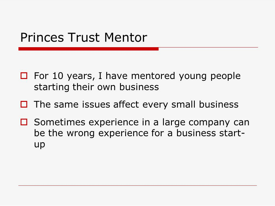 Princes Trust Mentor  For 10 years, I have mentored young people starting their own business  The same issues affect every small business  Sometimes experience in a large company can be the wrong experience for a business start- up