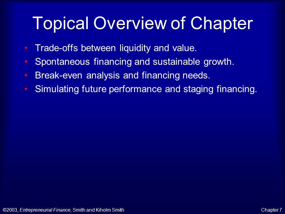 ©2003, Entrepreneurial Finance, Smith and Kiholm SmithChapter 7 Ink Magazine Scenario Analysis
