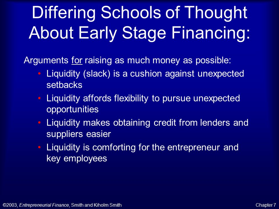 ©2003, Entrepreneurial Finance, Smith and Kiholm SmithChapter 7 Differing Schools of Thought About Early Stage Financing: Arguments against raising as much money as possible: Limiting investment limits the loss if the venture fails.