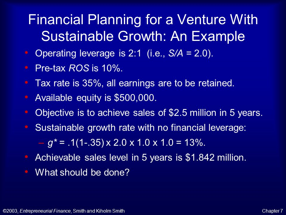 ©2003, Entrepreneurial Finance, Smith and Kiholm SmithChapter 7 Financial Planning for a Venture With Sustainable Growth: An Example Operating leverage is 2:1 (i.e., S/A = 2.0).