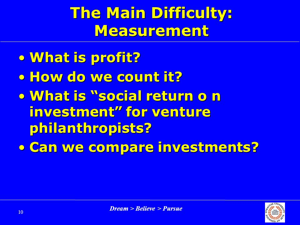 Dream > Believe > Pursue 10 The Main Difficulty: Measurement What is profit What is profit.
