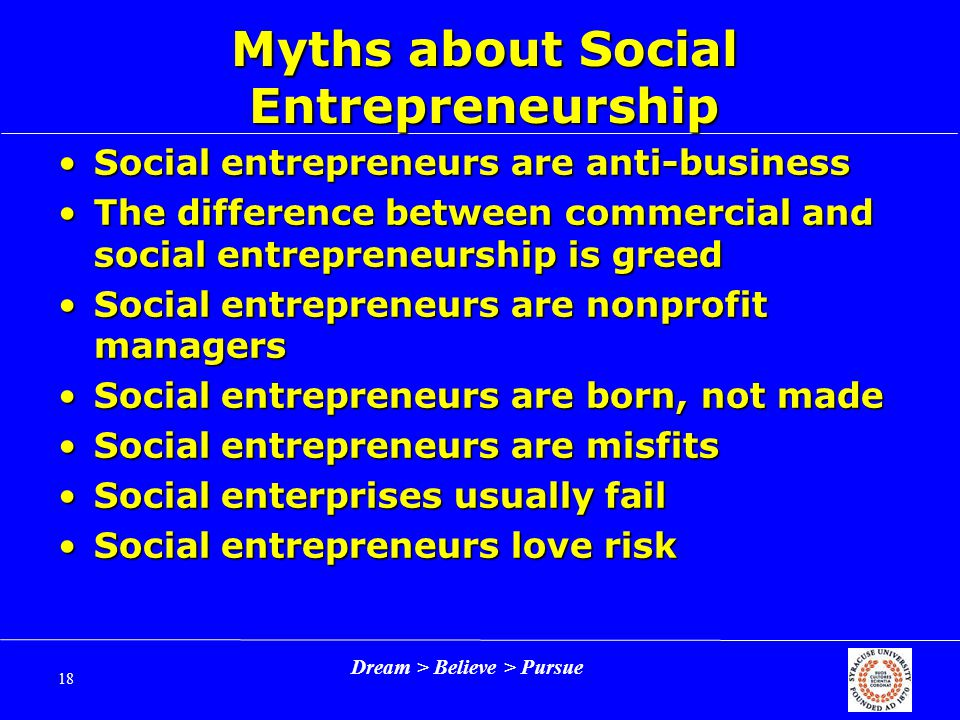 Dream > Believe > Pursue 18 Myths about Social Entrepreneurship Social entrepreneurs are anti-businessSocial entrepreneurs are anti-business The difference between commercial and social entrepreneurship is greedThe difference between commercial and social entrepreneurship is greed Social entrepreneurs are nonprofit managersSocial entrepreneurs are nonprofit managers Social entrepreneurs are born, not madeSocial entrepreneurs are born, not made Social entrepreneurs are misfitsSocial entrepreneurs are misfits Social enterprises usually failSocial enterprises usually fail Social entrepreneurs love riskSocial entrepreneurs love risk