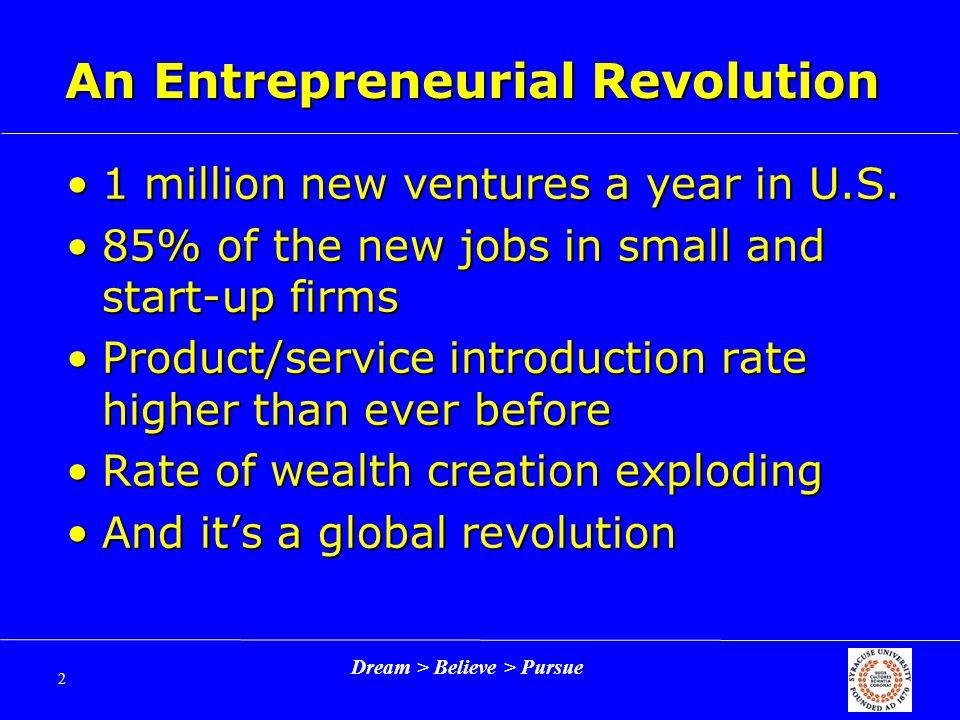 Dream > Believe > Pursue 2 An Entrepreneurial Revolution 1 million new ventures a year in U.S.1 million new ventures a year in U.S.