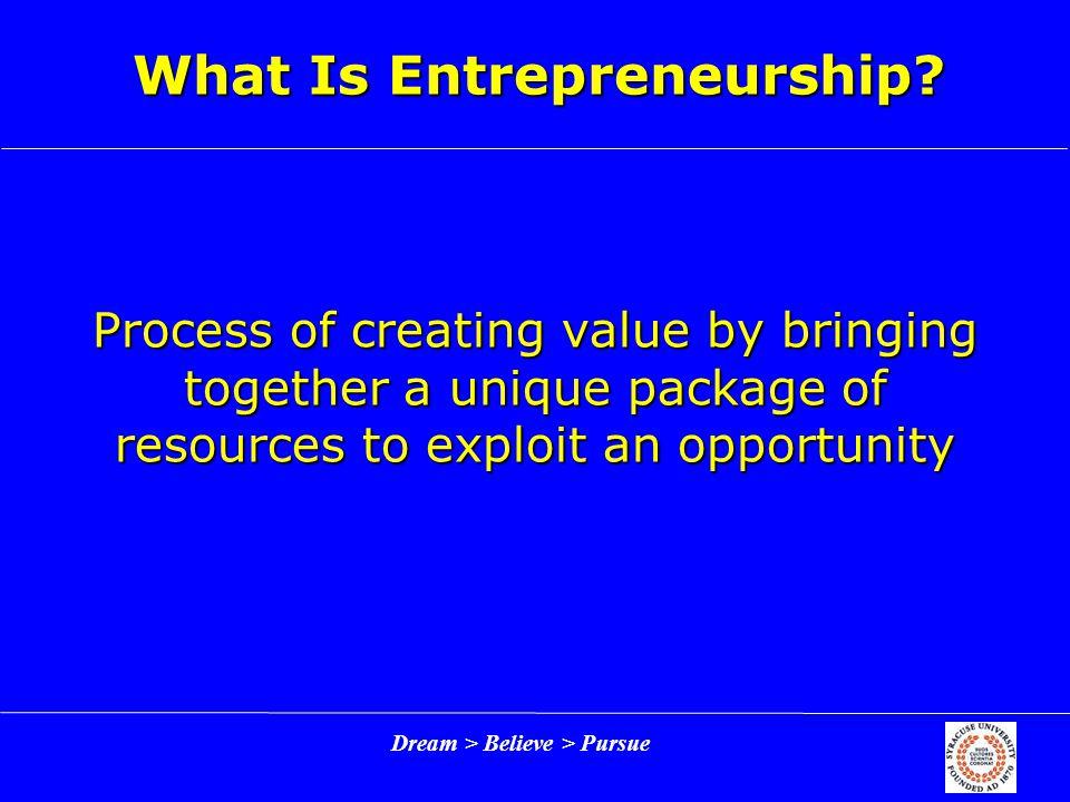 Dream > Believe > Pursue What Is Entrepreneurship.