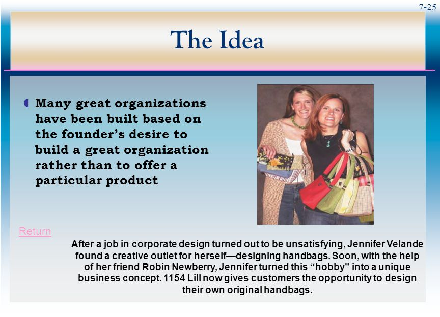7-25 The Idea  Many great organizations have been built based on the founder's desire to build a great organization rather than to offer a particular product After a job in corporate design turned out to be unsatisfying, Jennifer Velande found a creative outlet for herself—designing handbags.