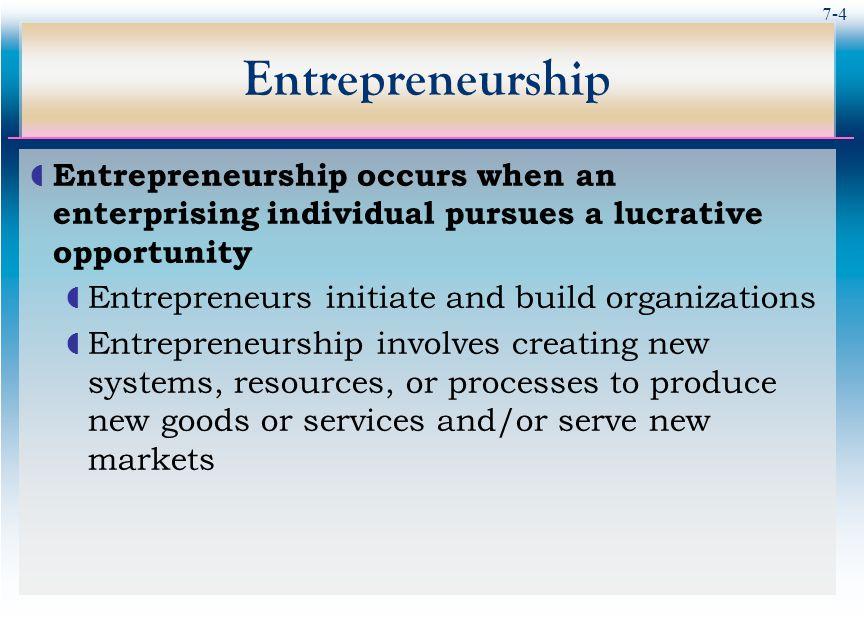 7-5 Entrepreneurship vs.