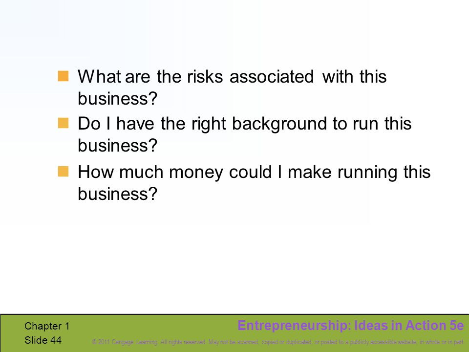 Entrepreneurship: Ideas in Action 5e © 2011 Cengage Learning.