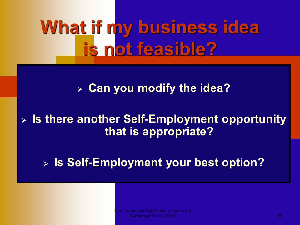 Iowa Vocational Rehabilitation Services & Department for the Blind40 What if my business idea is not feasible?  Can you modify the idea?  Is there a