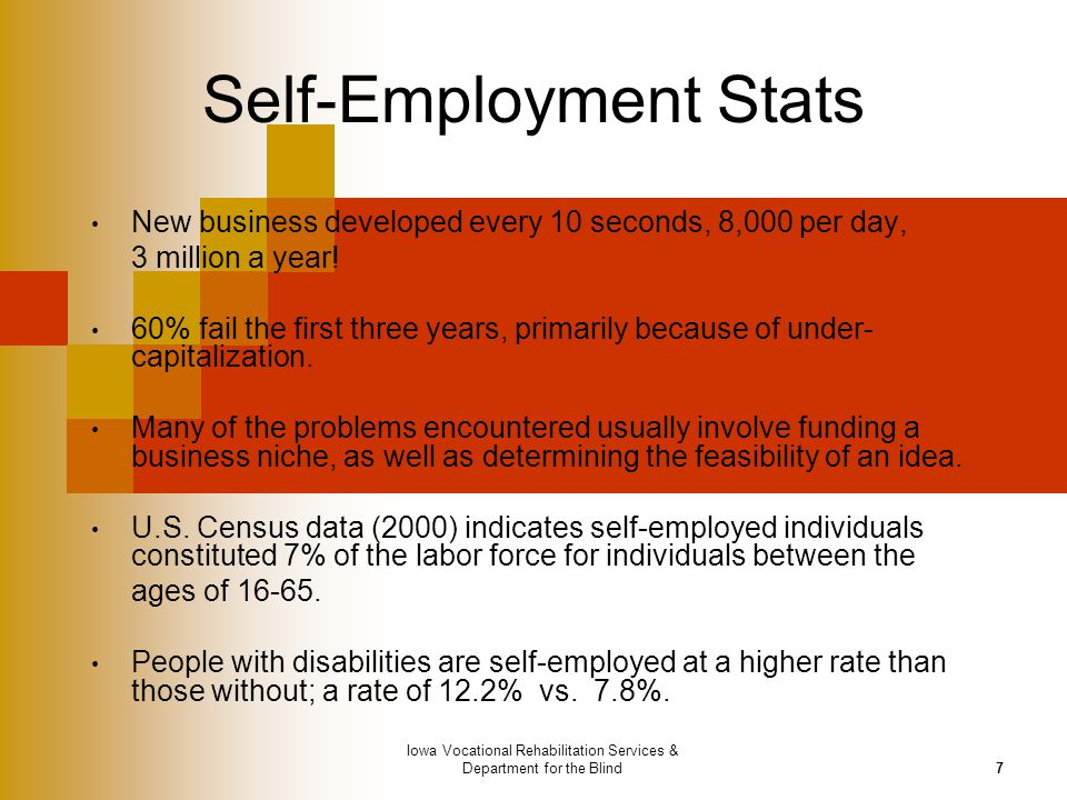 Iowa Vocational Rehabilitation Services & Department for the Blind7 Self-Employment Stats New business developed every 10 seconds, 8,000 per day, 3 mi
