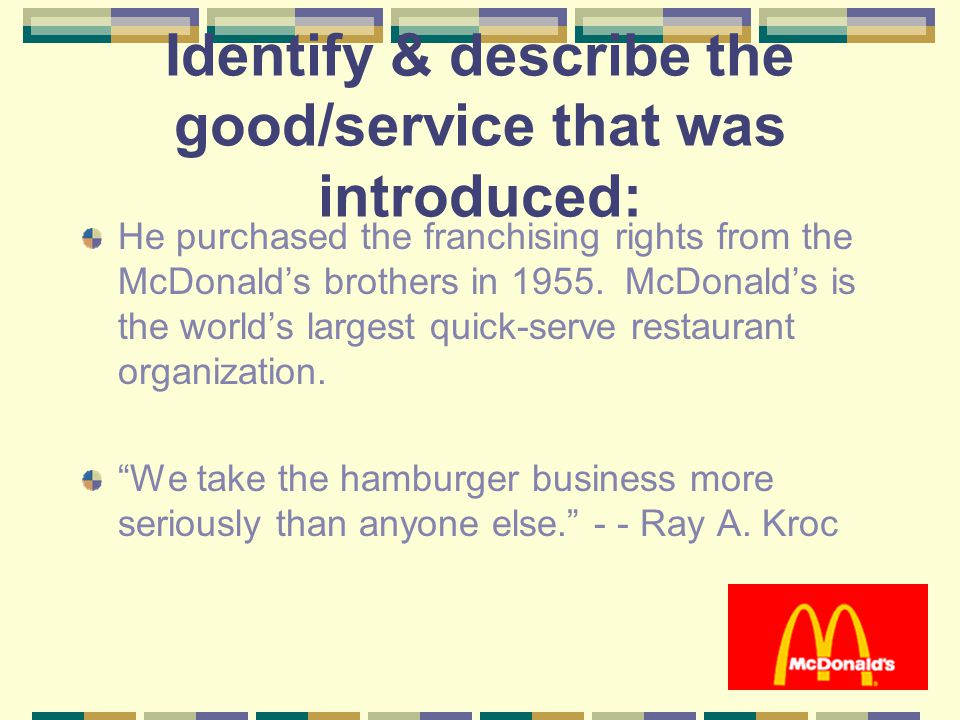 Identify & describe the good/service that was introduced: He purchased the franchising rights from the McDonald's brothers in 1955.