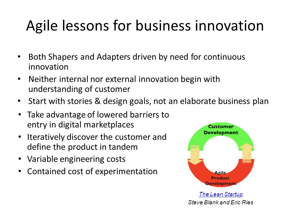Agile lessons for business innovation Both Shapers and Adapters driven by need for continuous innovation Neither internal nor external innovation begin with understanding of customer Start with stories & design goals, not an elaborate business plan Take advantage of lowered barriers to entry in digital marketplaces Iteratively discover the customer and define the product in tandem Variable engineering costs Contained cost of experimentation The Lean Startup Steve Blank and Eric Ries