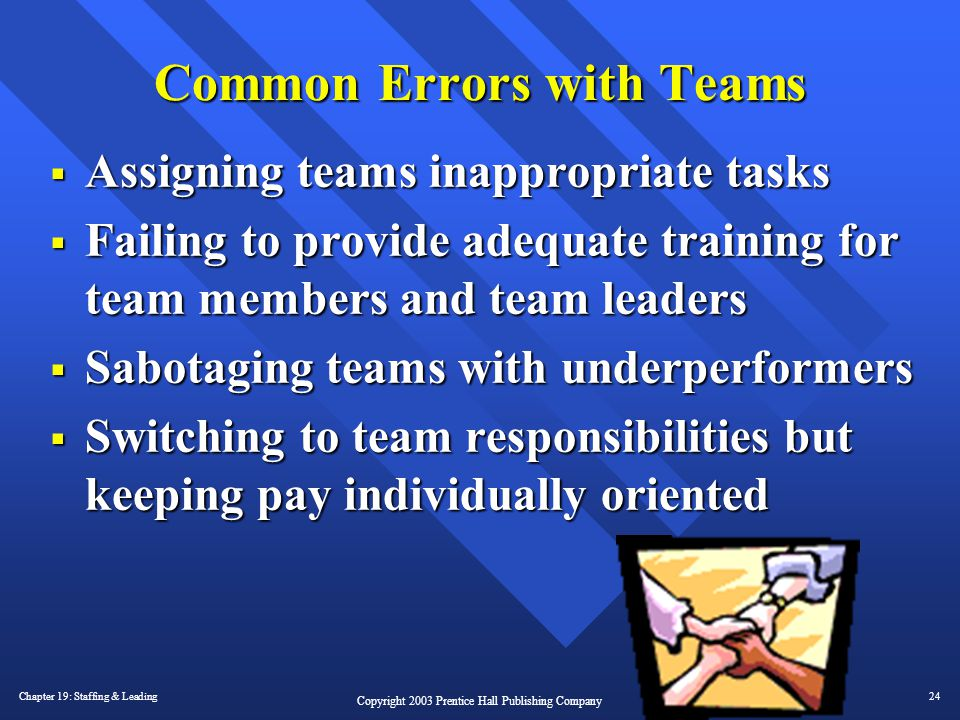 Chapter 19: Staffing & Leading24 Copyright 2003 Prentice Hall Publishing Company Common Errors with Teams  Assigning teams inappropriate tasks  Fail