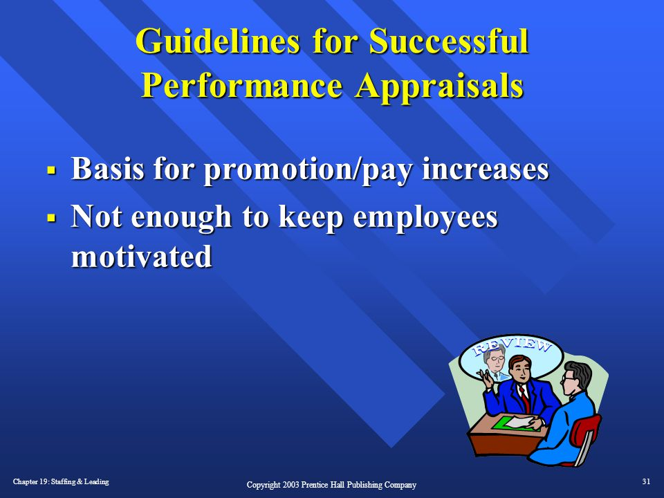 Chapter 19: Staffing & Leading31 Copyright 2003 Prentice Hall Publishing Company Guidelines for Successful Performance Appraisals  Basis for promotio