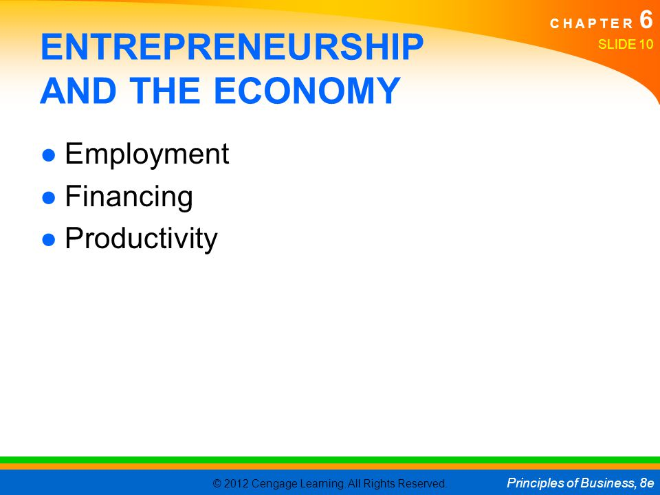 © 2012 Cengage Learning. All Rights Reserved. Principles of Business, 8e C H A P T E R 6 SLIDE 10 ENTREPRENEURSHIP AND THE ECONOMY ●Employment ●Financ