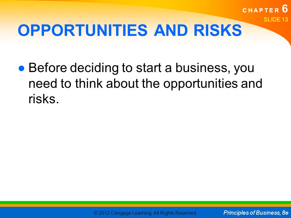 © 2012 Cengage Learning. All Rights Reserved. Principles of Business, 8e C H A P T E R 6 SLIDE 13 OPPORTUNITIES AND RISKS ●Before deciding to start a