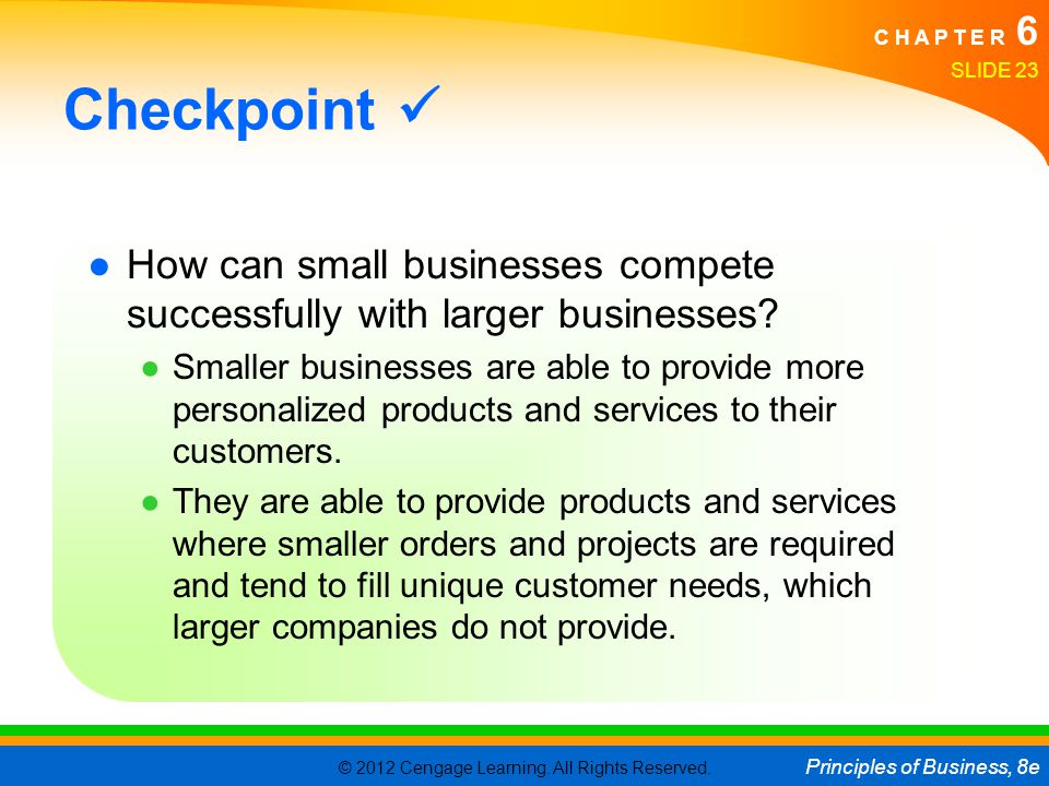 © 2012 Cengage Learning. All Rights Reserved. Principles of Business, 8e C H A P T E R 6 SLIDE 23 Checkpoint ●How can small businesses compete success