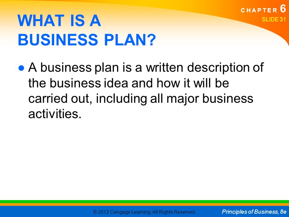 © 2012 Cengage Learning. All Rights Reserved. Principles of Business, 8e C H A P T E R 6 SLIDE 31 WHAT IS A BUSINESS PLAN? ●A business plan is a writt
