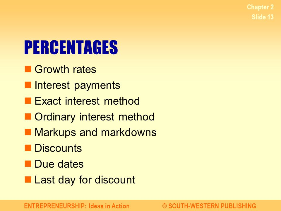 ENTREPRENEURSHIP: Ideas in Action© SOUTH-WESTERN PUBLISHING Chapter 2 Slide 13 PERCENTAGES Growth rates Interest payments Exact interest method Ordina