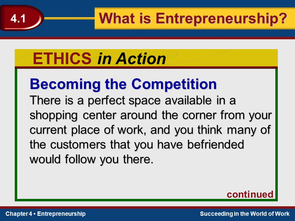 Chapter 4 EntrepreneurshipSucceeding in the World of Work What is Entrepreneurship? 4.1 ETHICS in Action Becoming the Competition There is a perfect s