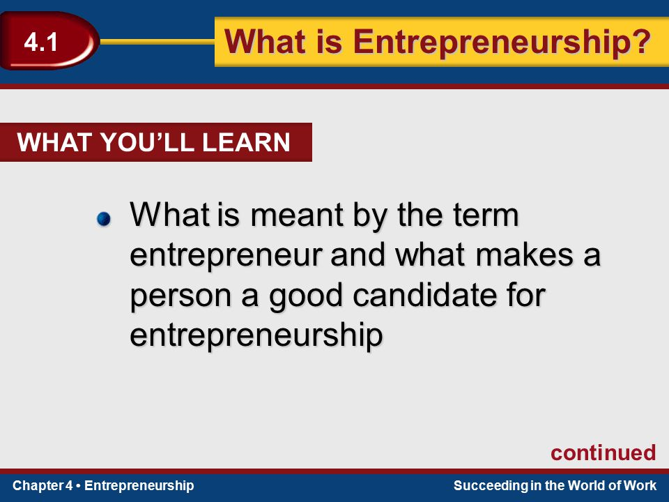 Chapter 4 EntrepreneurshipSucceeding in the World of Work What is Entrepreneurship.