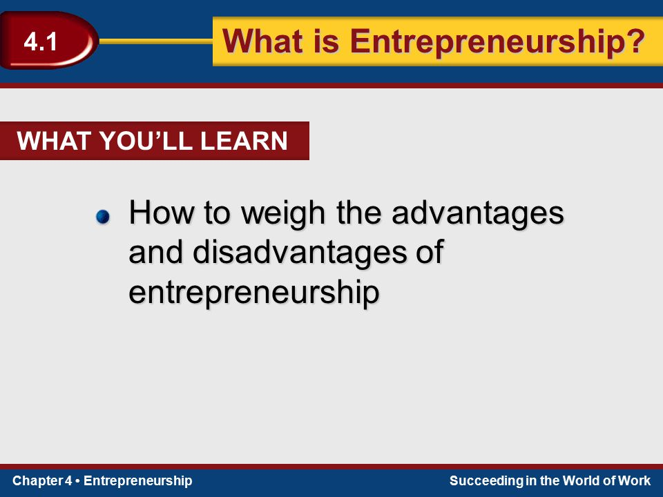 Chapter 4 EntrepreneurshipSucceeding in the World of Work What is Entrepreneurship? 4.1 WHAT YOU'LL LEARN How to weigh the advantages and disadvantage