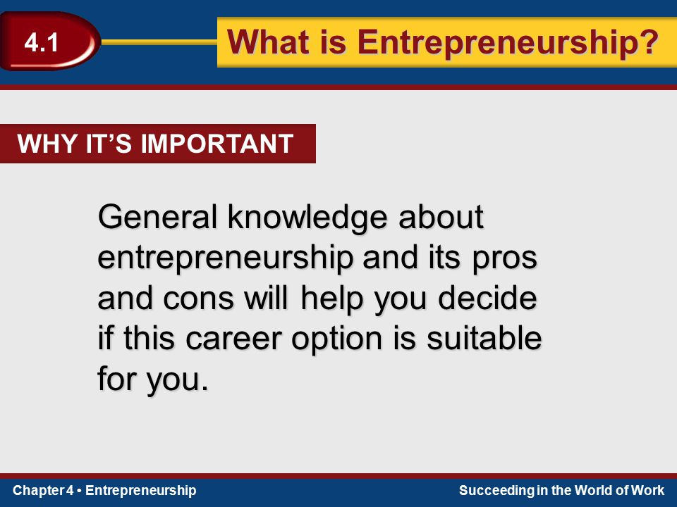 Chapter 4 EntrepreneurshipSucceeding in the World of Work What is Entrepreneurship? 4.1 General knowledge about entrepreneurship and its pros and cons