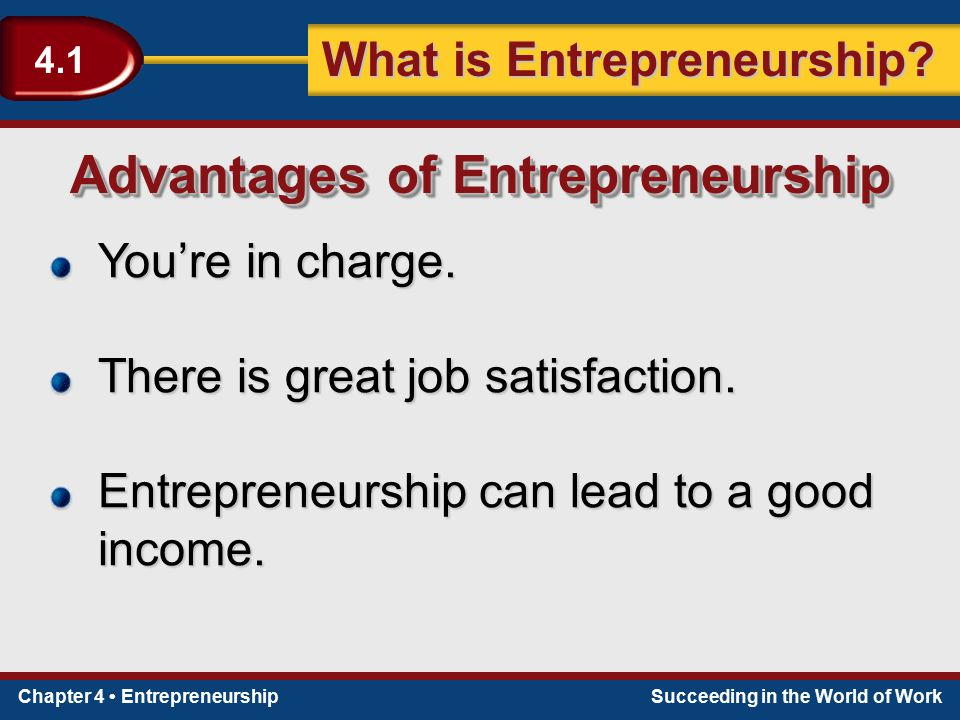Chapter 4 EntrepreneurshipSucceeding in the World of Work What is Entrepreneurship? 4.1 You're in charge. There is great job satisfaction. Entrepreneu