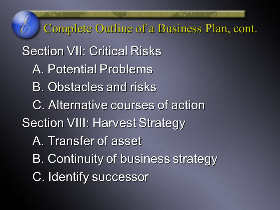 Complete Outline of a Business Plan, cont. Section VII: Critical Risks A. Potential Problems B. Obstacles and risks C. Alternative courses of action S