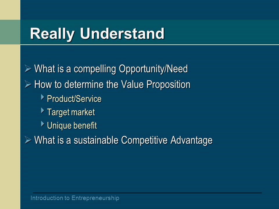 Introduction to Entrepreneurship Really Understand  What is a compelling Opportunity/Need  How to determine the Value Proposition  Product/Service  Target market  Unique benefit  What is a sustainable Competitive Advantage