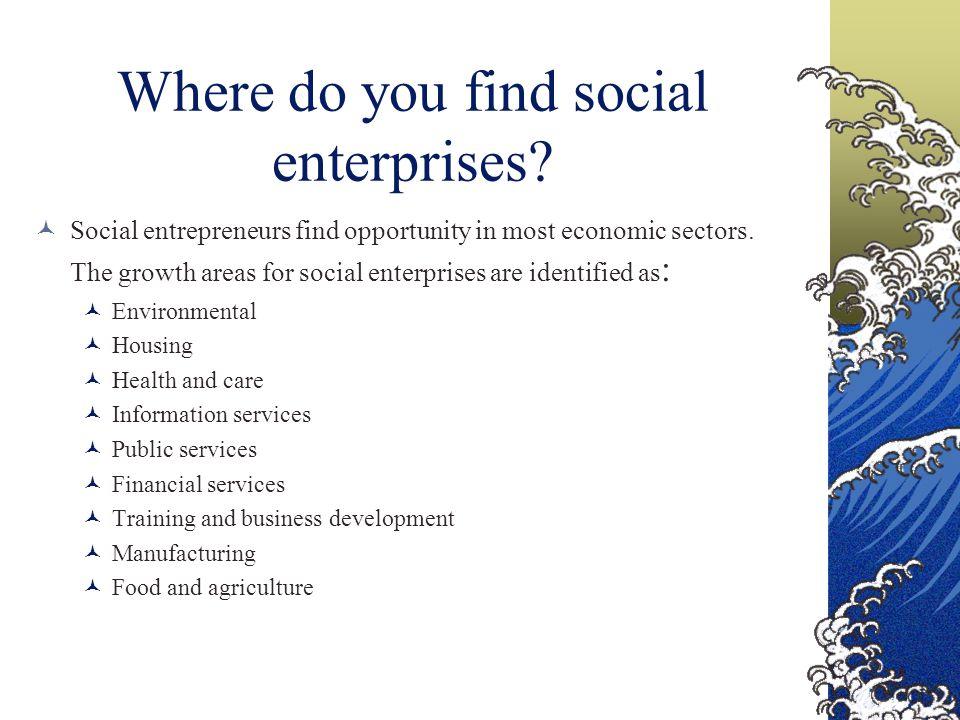 Where do you find social enterprises.