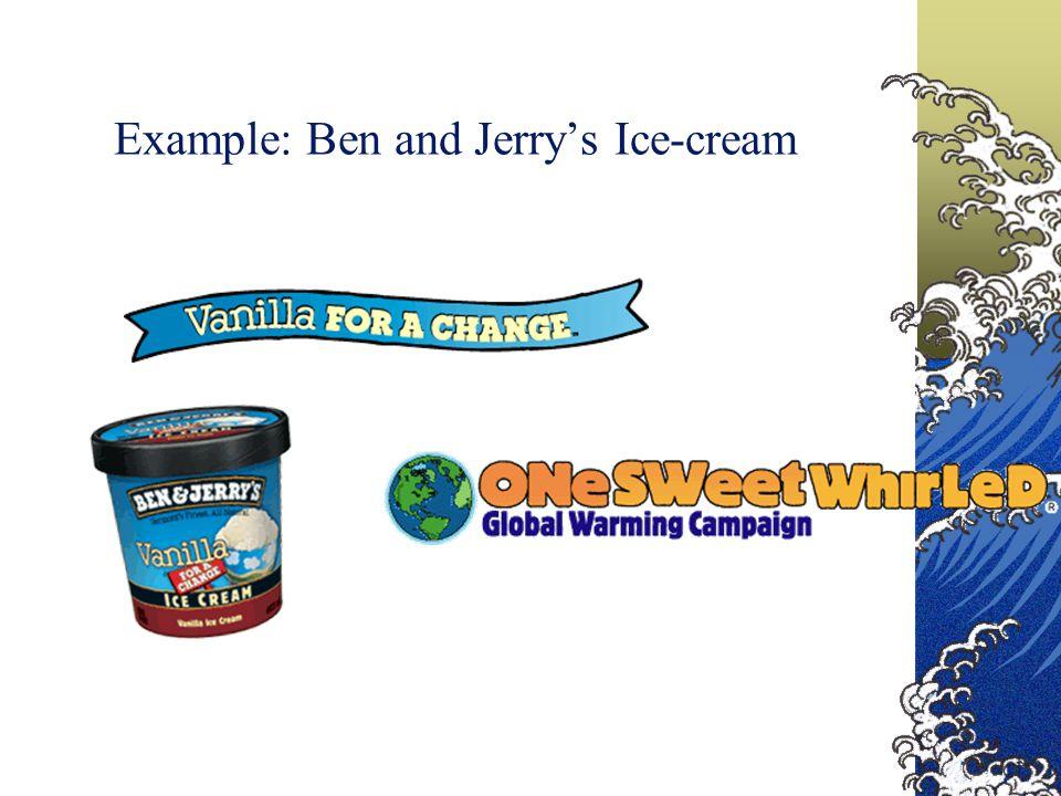Example: Ben and Jerry's Ice-cream