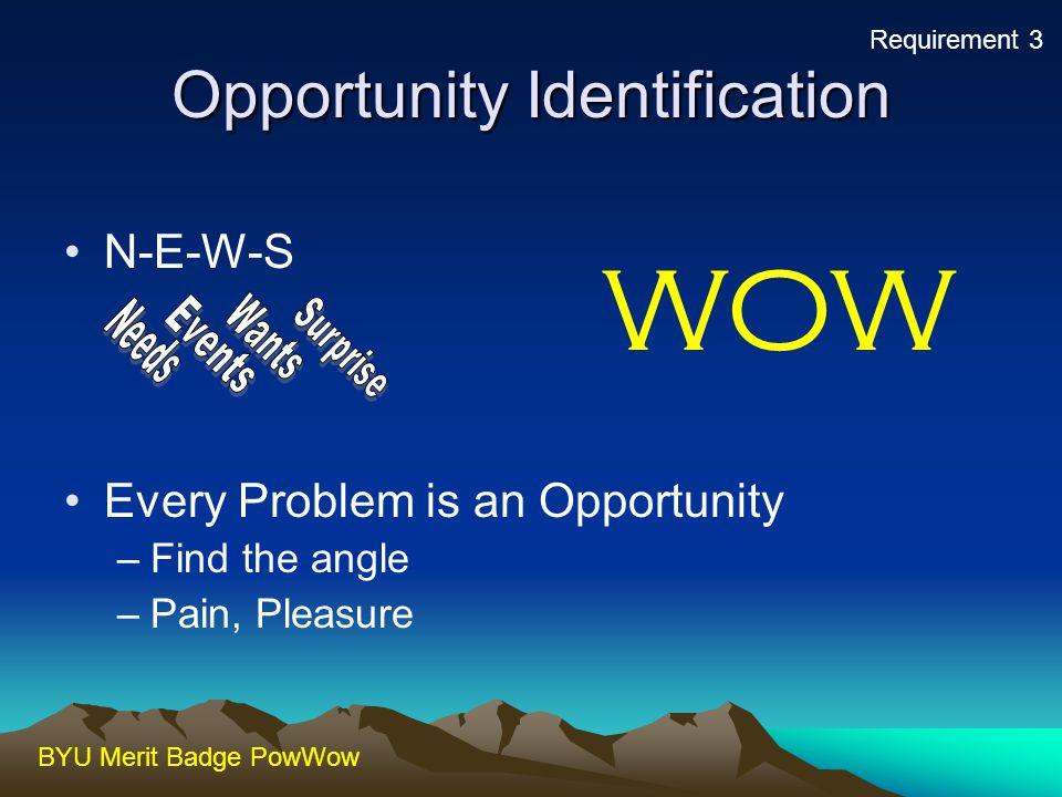 BYU Merit Badge PowWow Identifying Opportunities Opportunities exist all around us.Opportunities exist all around us.