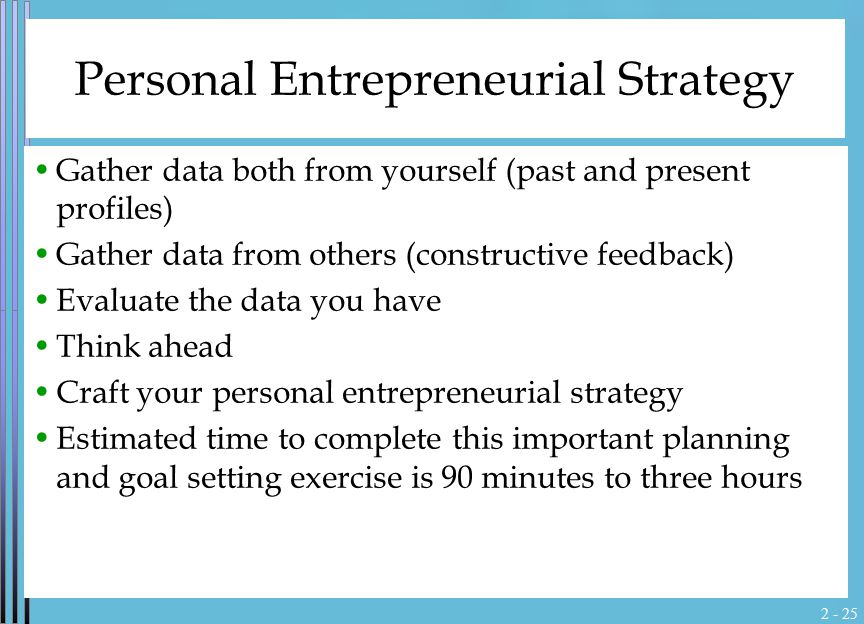 2 - 25 Personal Entrepreneurial Strategy Gather data both from yourself (past and present profiles) Gather data from others (constructive feedback) Ev