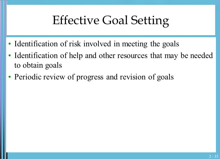 2 - 35 Effective Goal Setting Identification of risk involved in meeting the goals Identification of help and other resources that may be needed to ob