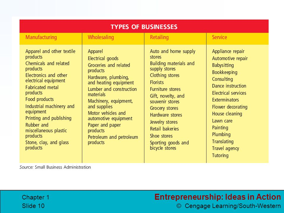 Entrepreneurship: Ideas in Action © Cengage Learning/South-Western Chapter 1 Slide 10
