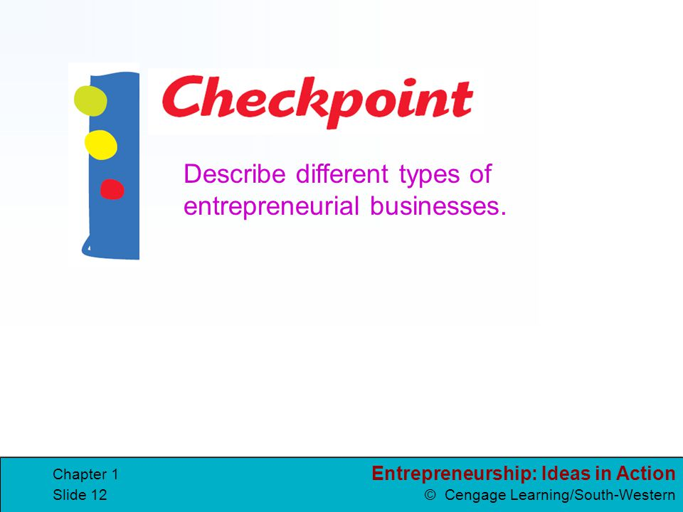 Entrepreneurship: Ideas in Action © Cengage Learning/South-Western Chapter 1 Slide 12 Describe different types of entrepreneurial businesses.