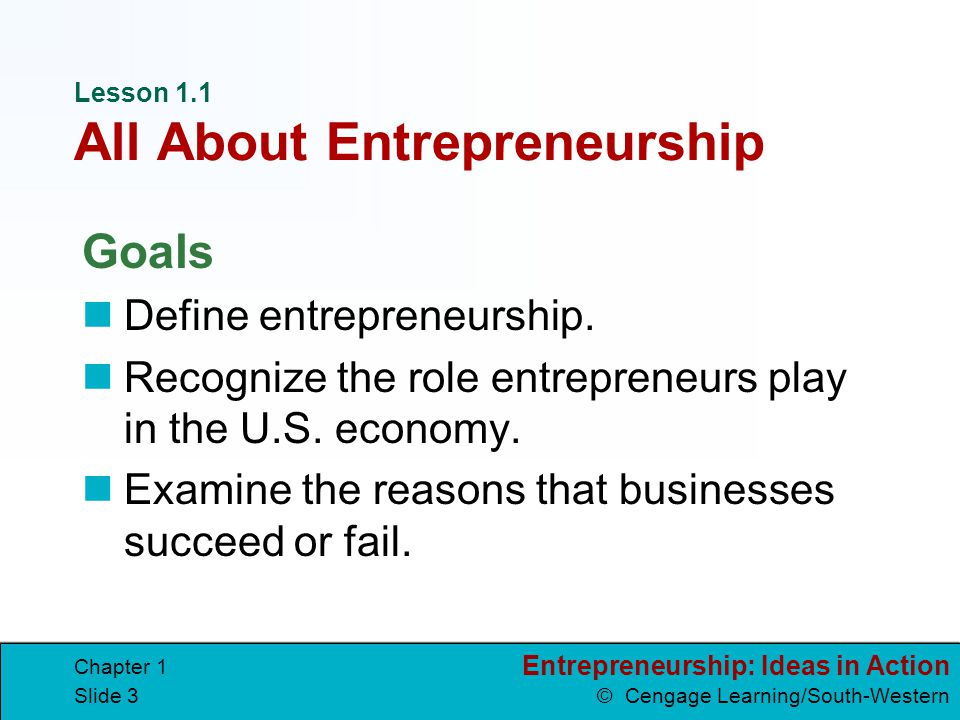 Entrepreneurship: Ideas in Action © Cengage Learning/South-Western Chapter 1 Slide 34 Look for Ideas opportunities possibilities that arise from existing conditions ideas thoughts or concepts that come from creative thinking