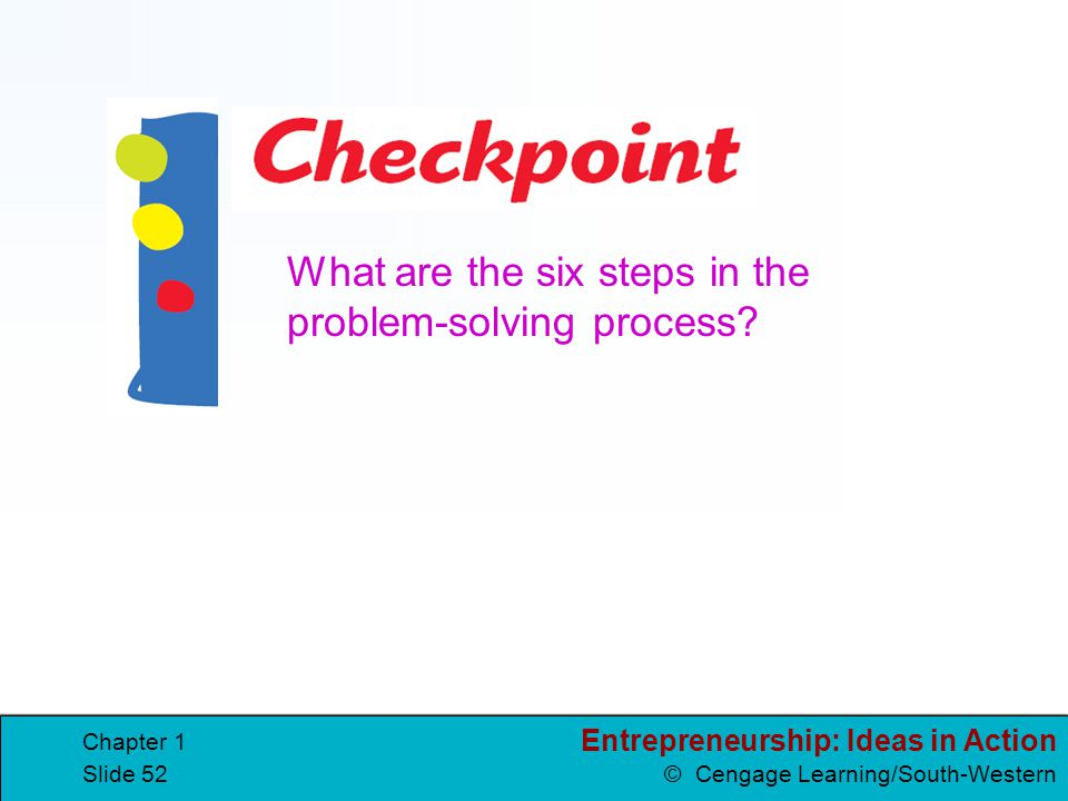 Entrepreneurship: Ideas in Action © Cengage Learning/South-Western Chapter 1 Slide 52 What are the six steps in the problem-solving process?