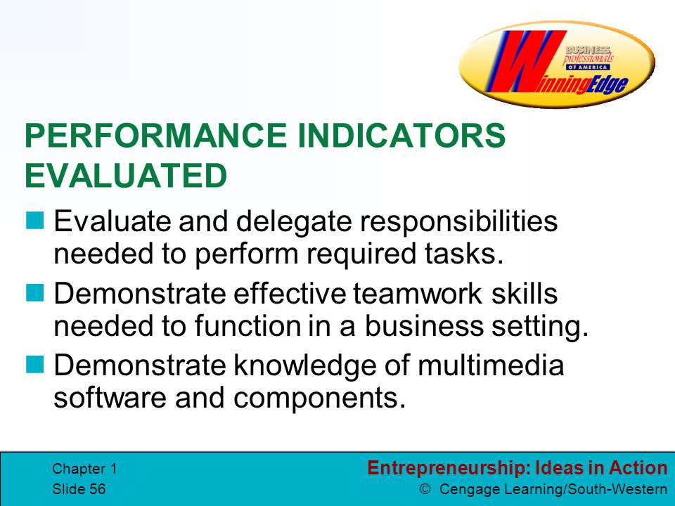 Entrepreneurship: Ideas in Action © Cengage Learning/South-Western Chapter 1 Slide 56 PERFORMANCE INDICATORS EVALUATED Evaluate and delegate responsib