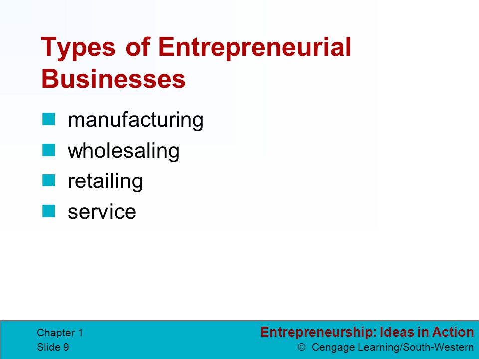 Entrepreneurship: Ideas in Action © Cengage Learning/South-Western Chapter 1 Slide 9 Types of Entrepreneurial Businesses manufacturing wholesaling ret