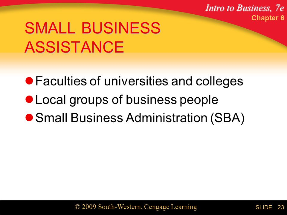 Intro to Business, 7e © 2009 South-Western, Cengage Learning SLIDE Chapter 6 23 SMALL BUSINESS ASSISTANCE Faculties of universities and colleges Local groups of business people Small Business Administration (SBA)